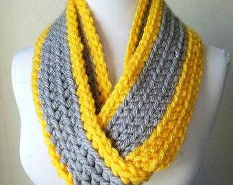 Infinity scarf, bulky infinity, yellow scarf, layered scarf, yellow and grey scarf, circular scarf, crochet scarf, infinity scarves, bright