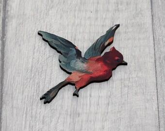 Red and Blue Bird Brooch, Wooden Bird Brooch, Bird Illustration, Animal Brooch, Wood Jewelry