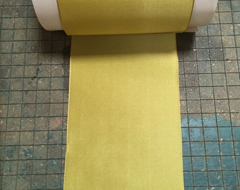 Vintage 4 inch silk/rayon classic chartreuse taffeta ribbon, Sold by the Yard