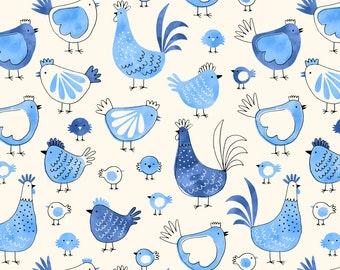 Pre-order Chicken Kitchen Tea towel Bird Farm animal watercolor, linen cotton / theedoek - design by Heleen van den Thillart
