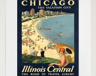 Chicago Travel Poster Art Print Vintage Home Decor (ZT219)