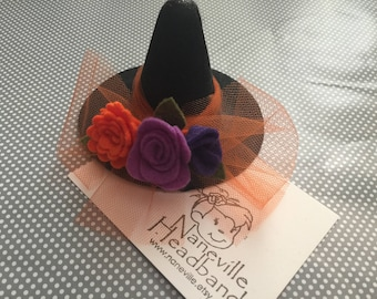 Witch hat headband, nylon band or alligator clip