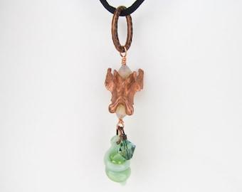 Green Glass Pendant, Electroformed Copper Real Vertebrae, Mink Bone Heady Glass Jewelry, Lampwork, Boro, Borosilicate, Hand Blown Glass Art