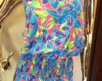 80s Dress Aloha neon