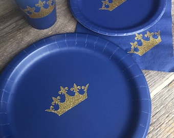 Navy Blue and Gold Glitter Crown Party Cups Plates and Napkins,Crown Prince Party,Prince Baby Shower, Its a Boy Shower, Prince Party