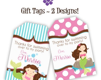 Mermaid Gift Tags - Turquoise Blue Stripes, Pink Polka Dots, Girl Mermaid Personalized Birthday Party Gift Tags - A Digital Printable File