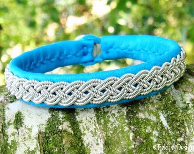 A Piece of the North ASGARD Sami Bracelet Cuff Swedish Lapland Viking Jewelry with Pewter Braid on Turquoise Reindeer Leather
