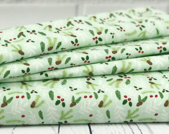 Light Green Floral Quilt Fabric - Comfort & Joy - Riley Blake Designs - Christmas Fabric - Holiday Quilt Fabric - C6266-LTGREEN