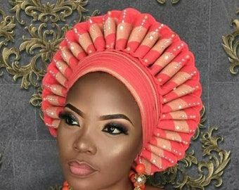 Autogele/ Ready-to-Wear Gele/ Ready Made Gele/ Stoned Auto Gele/ Aso oke / Bridal Bedazzled Auto Gele/ Available in Any Color
