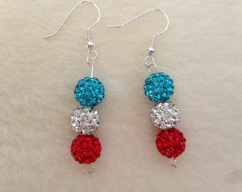 Red White and Blue, Sparkly Earrings, Sparkly Jewellery, Glittery Earrings, Glittery Jewellery, 4th of July, Beaded Earrings, Beaded Jewelry