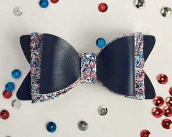 American Sweetheart bow, red white & blue glitter hair bow, sparkly patriotic bow, Memorial Day headband, 4th of July hair bow, navy leather