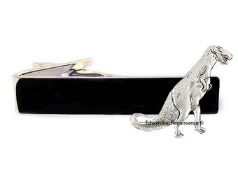 Antique Silver Dinosaur Tie Clip T-Rex Inlaid in Hand painted Black Enamel Tie Bar Accent Pre Historic Style Custom Colors Aailable