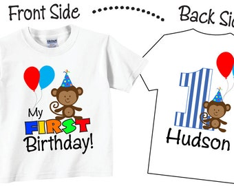 1st Birthday Monkey and Balloons Shirts Tshirts for any Age or Birthday