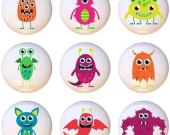 Set of 9 Monsters by PP Kids Monster Ceramic Drawer Pull Cabinet Knobs