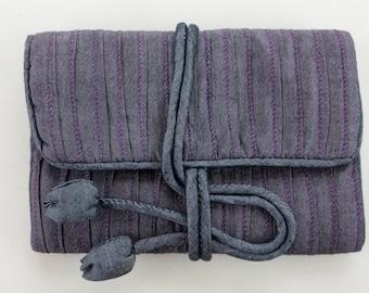 Hand Woven Silk Jewellery Roll -  Pale Purple