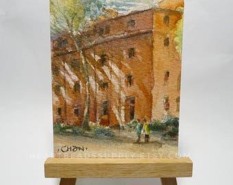 Original Aceo Red building, architecture peinture à l'aquarelle, miniature watercolor painting, atc, id1360755 not a print, gift idea
