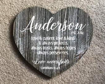 Personalized Wedding Last Name Plaque Sign Distressed Heart Whitewashed