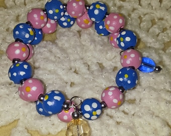 Fun Pink and Blue Memory Wire Bracelet (I 383)