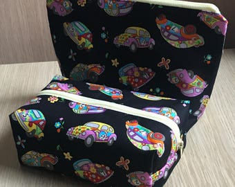 Set of two VW Beetle Cosmetic Bags, Love Bug Make Up Bags, VW Bug Cosmetic Purse, Black and Yellow
