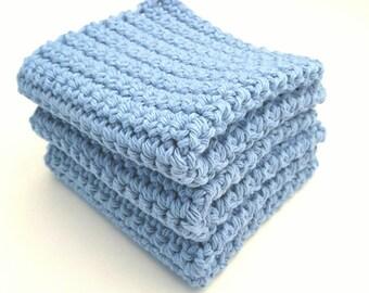 Crochet Wash Cloths Crochet Dish Cloths 100% Cotton Handmade Washrag Set of 3 Kitchen Dishcloths Crocheted Dish Cloths Potholder