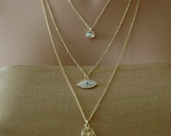 SALE, Evil Eye, Layered Evil Eye necklace, Crystallized evil eye necklace, Gift for her, Holiday Gift, Good luck charm, Valentines gift