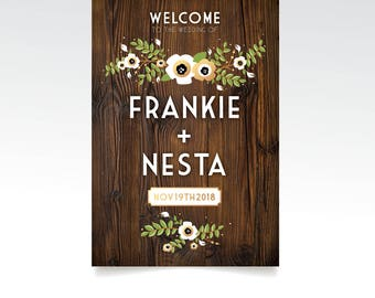 DARK WALNUT Wood Sign Large Wedding Welcome . Poppy Anemone Magnolia Garland Eucalyptus Olive Branch . PRINTED Paper • Foam Board • Canvas