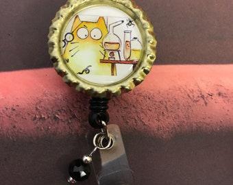 Laboratory retractable badge reel, Mad scientist design lab week gift MLS, MLT, MT, science