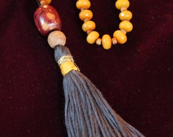 Yellow Glass Bead Meditation Necklace