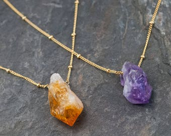 Rough Cut Gemstone Necklace, Raw Crystal Necklace, Amethyst Necklace Gold, Raw Citrine Necklace, Natural Gemstones, Birthstone Gift for Her