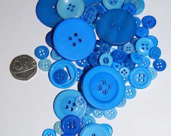 Blue Coloured Buttons - Mix Weights - Bags Various Sizes
