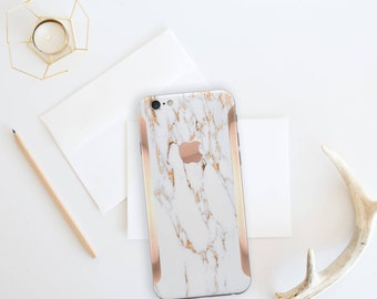 iPhone 8 iPhone 8 Plus iPhone X Marble Bianco Sivec and Rose Gold Edge Vinyl Skin Decal Minimalist