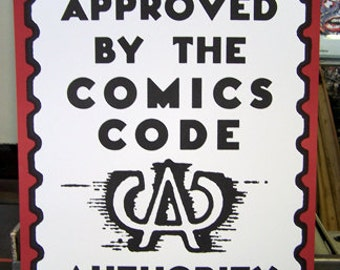 Approved by the Comics Code poster vintage comic book fun