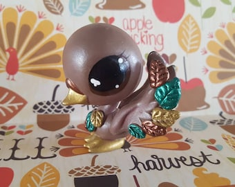 Fall Autumn Falling Leaves  Swan Bird OOAK Custom Littlest Pet Shop Repaint