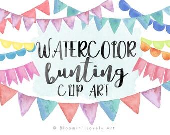 Watercolor Bunting Clipart - Watercolor Clip Art - Hand Painted Bunting Clip Art - Watercolor Bunting Clip Art