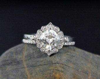 Forever One Cushion Halo Diamond Engagement Ring Wedding Set- Vintage Flower Halo - Scallop Halo