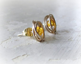 Gold Stud Earrings, Amber Posts, Glass Stud Earrings, Wire Wrap Earrings, Amber Studs, Small Stud Earrings, Gold Post Earrings, Glass Beads