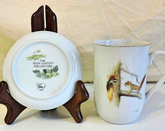 Woodpecker and Squirrel Vintage Glen Loates Cup and Saucer