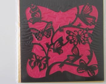 beautiful cut out card are eight butterflies shadow
