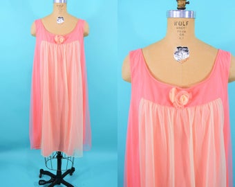 1960s pink nightie | pink yellow nylon pinup layered babydoll | vintage 60s lingerie