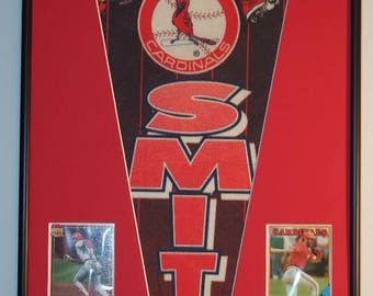 St Louis Cardinals Ozzie Smith Pennant Framed..with cards!!!