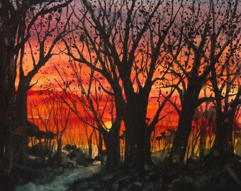 Home Before Dark // Watercolor // Sunset Sky // Trees // Dramatic // Art Print