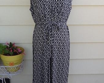 Womens Glamour Black/White Printed Ruffled Dress Size 22W MSRP 80 NWT!