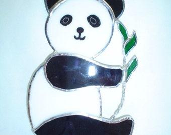 Stained glass panda bear