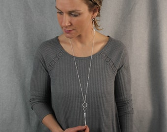 Long Sterling Silver Pendant Necklace - Hand Hammered Vertical Bar Spinning Pendant on a 30 inch Long Sterling Silver Chain