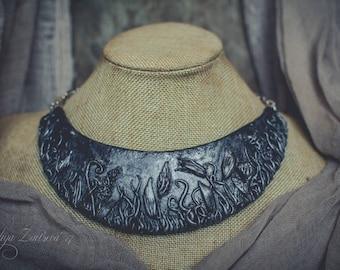 Bib necklace flower Statement necklace black silver necklace polymer clay necklace silver floral asymmetric necklace choker necklace