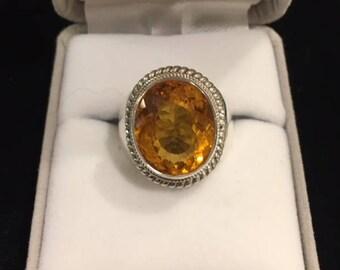 Fine Silver & Citrine Ring