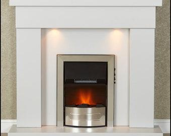 Malacrino Tueco Grey Electric Fireplace With Downlights