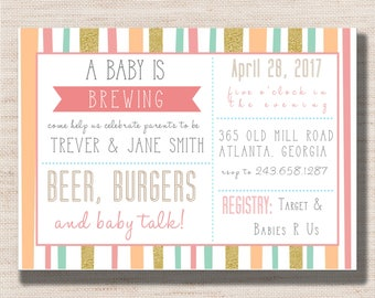 Beer Burgers and Baby Talk Couples Shower - PRINTABLE - Digital File