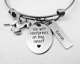 Horse Remembrance - You Left Hoofprints on My Heart - Horse Memorial Bracelet Horse Necklace - Engraved Horse Loss Bracelet