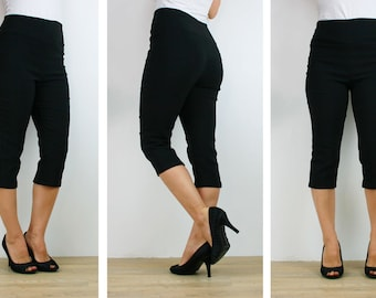 Womens black capri pants, high waisted strech 3/4 calf length pull on size 6 8 10 12 14 16 made to order Western Australian sellers